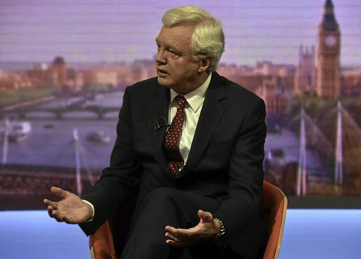 May sayer: Britain's former Brexit secretary David Davis, seen here on Sunday's Marr Show on BBC television, says he will vote against Prime Minister Theresa May's Brexit plan when it is tabled in parliament. Picture: JEFF OVERS/BBC/HANDOUT VIA REUTERS