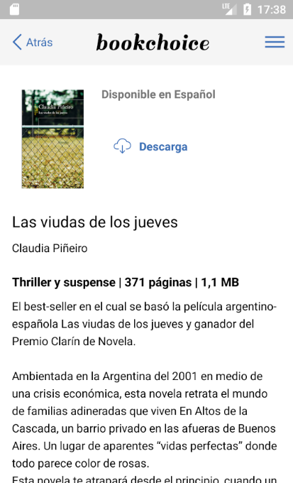 Bookchoice: captura de pantalla