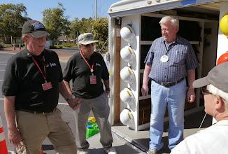 Photo: Jim Tiemstra (K6JAT) and Bob Vallio (W6RGG) talking with Sam (KJ6AF) and Bruce (KI6CYT).