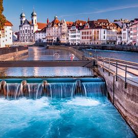 Lucern, Switzerland by Matthew Clausen - City,  Street & Park  Historic Districts ( town, city, stream, waterfall, switzerland, bright, water, lucern )