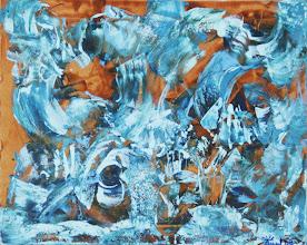 """Photo: """"Coucoulie"""". Lasure et acryclique sur toile. 50x40cm. Format horizontal."""