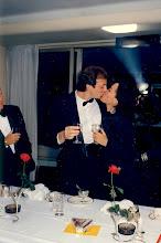 Photo: DJ Ashton Farley [prior to Islamic conversion] looks on at a Carlton Hotel snogging moment 1986.