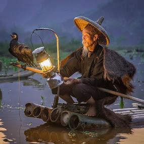 Evening Light by David Long - People Portraits of Men ( li river, cormorant fisherman, guilin )