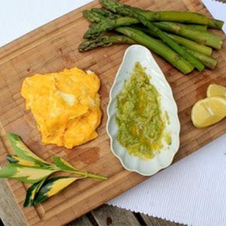 Healthy Folded Eggs, Asparagus and Avocado Puree.