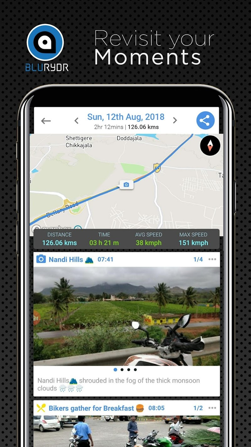 Скриншот BluRydr (Blue Rider) Track & Relive Your Trails