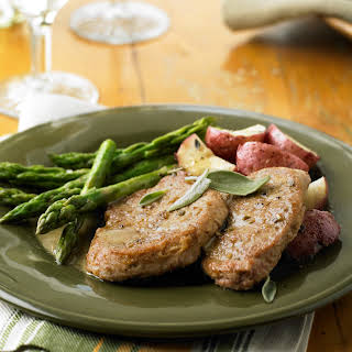 Sage Pork Tenderloin Medallions with White Wine Jus.