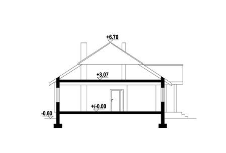 Dębina z garażem - Przekrój