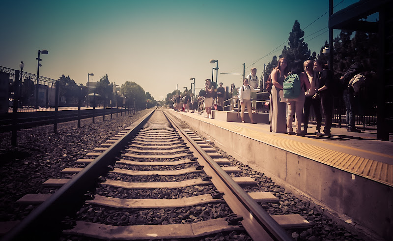 Photo: Taking the train back to San Francisco  It's really fun just to jump down on the tracks and tell it to take a photo! I feel so strange not carrying a camera...  Of course, I'm still gonna carry a regular camera most of the time! But I don't always have it... Although my upcoming China experiment with the NEX-7 may not be in China... my visa got denied! :(   #throughglass