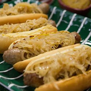 Bratwursts with Beer Mustard and Sauerkraut.