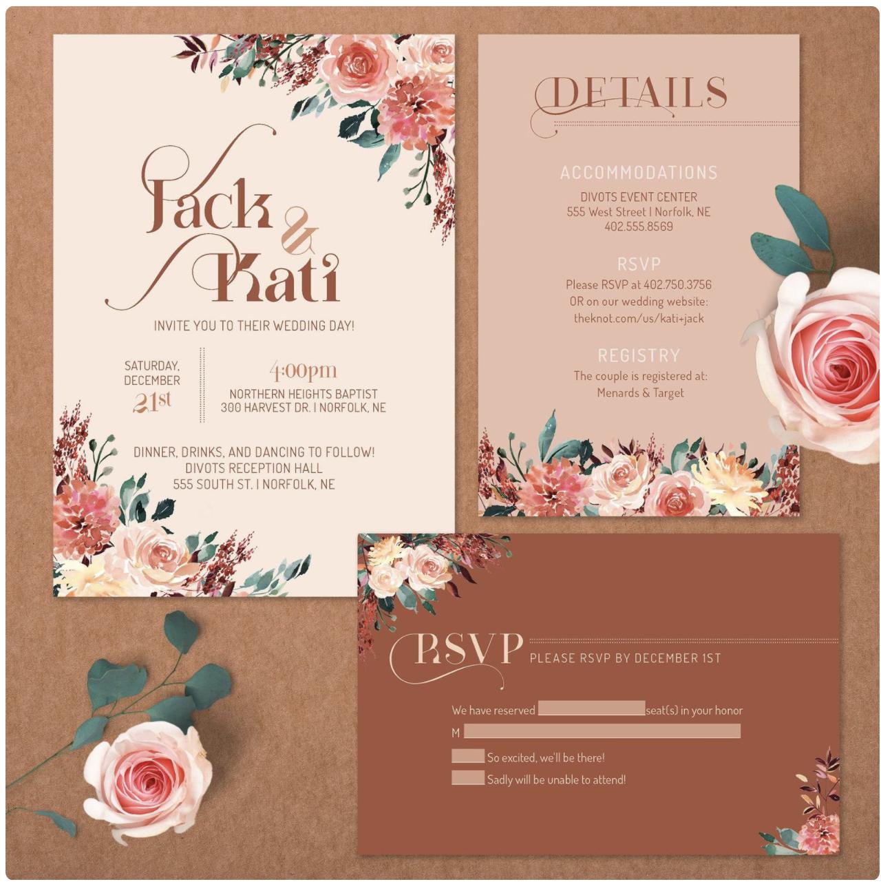 earthy wedding invitation