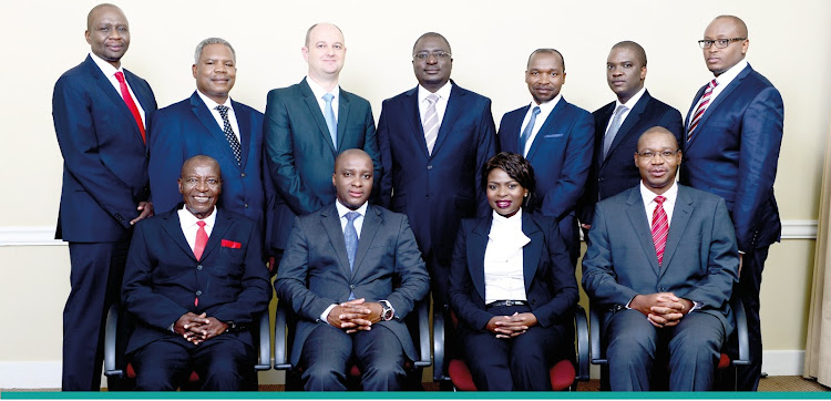 Ernest Nesane (front row, second from left) with fellow directors of VBS Bank.
