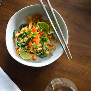 Spicy Peanut Rice Noodles with Gai Lan.