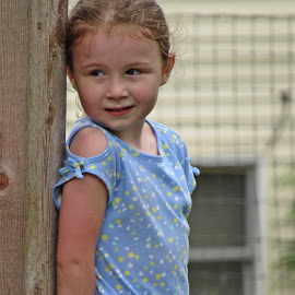 Hide & Seek by Sandy Stevens Krassinger - Babies & Children Children Candids ( hiding, blue, candid, wood, girl, fence, child )