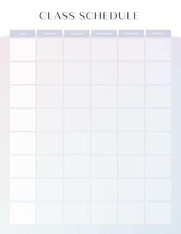 Modern Class Schedule - Weekly Planner template