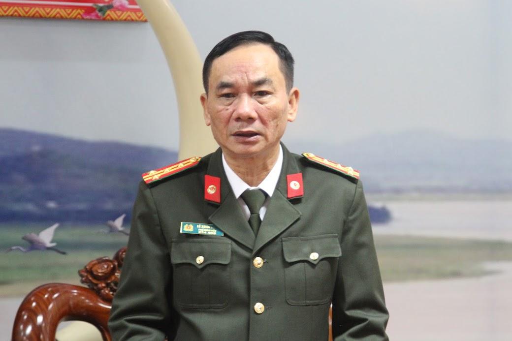 Đại tá Lê Xuân Hoài, Phó Giám đốc Công an tỉnh Nghệ An bày tỏ sự cảm ơn mà đoàn đã dành cho Công an tỉnh Nghệ An