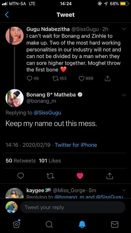Screenshot of Bonang shutting down the idea of her and DJ Zinhle making up.
