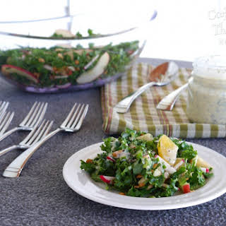 Fruit and Kale Salad with Poppy Seed Buttermilk Dressing.