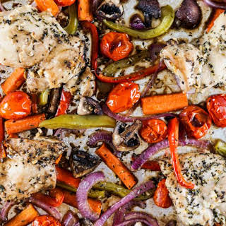 Roasted Balsamic Chicken Thighs and Vegetables.