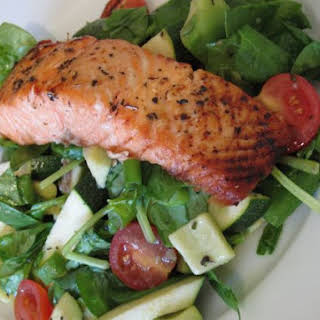 Grilled Salmon with Mint Salad.