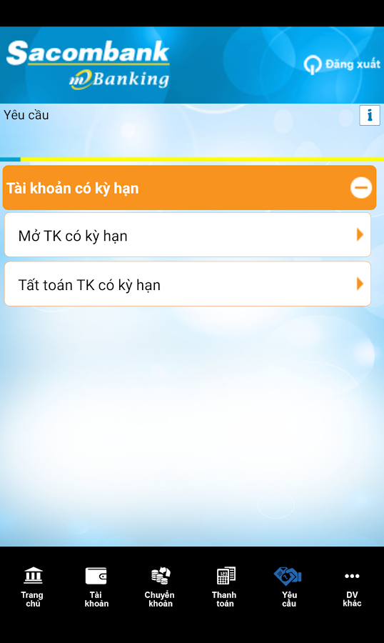 Sacombank mBanking- screenshot