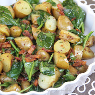 Warm Spinach and Potato Salad with Bacon Vinaigrette