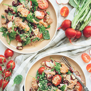 Smoked Salmon and Quinoa Salad with Radishes and Beans.