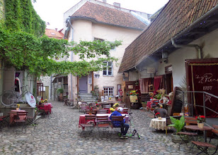 Photo: This was one of the charming courtyards in the lower town.  Later I had tea at a tea and chocolate shop.