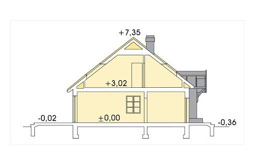 Azalia II wersja C z pojedynczym garażem - Przekrój