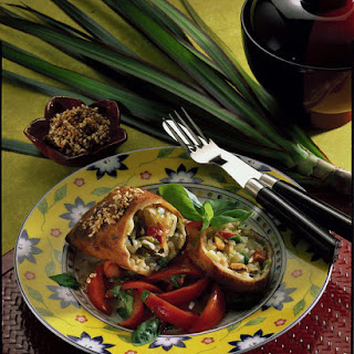 Spring Rolls with Tomato and Basil Salad