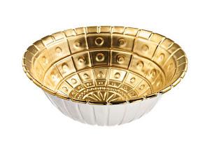 "Photo: MICHAEL WAINWRIGHT Porcelain and 24k gold ""Capitol"" bowl. 4.25″ high, 14″ diameter. $385. USA. Seventh Floor. 212 872 2686"