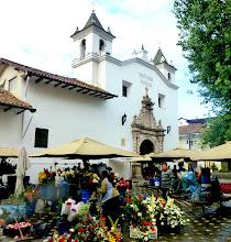 Photo: Flower vendors setting up the market