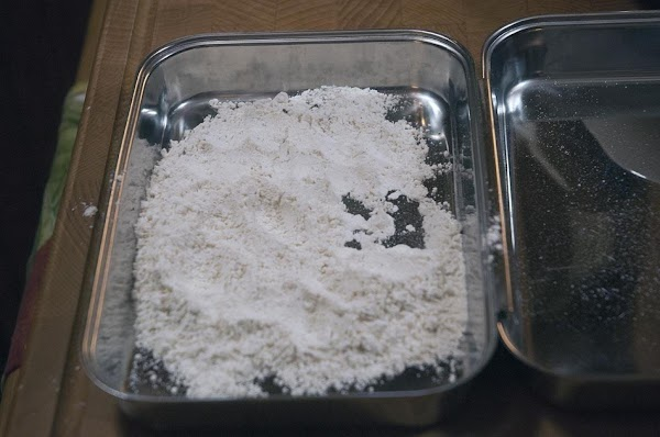 Combine the flour, salt, and pepper, (to taste) then and add to a bowl...
