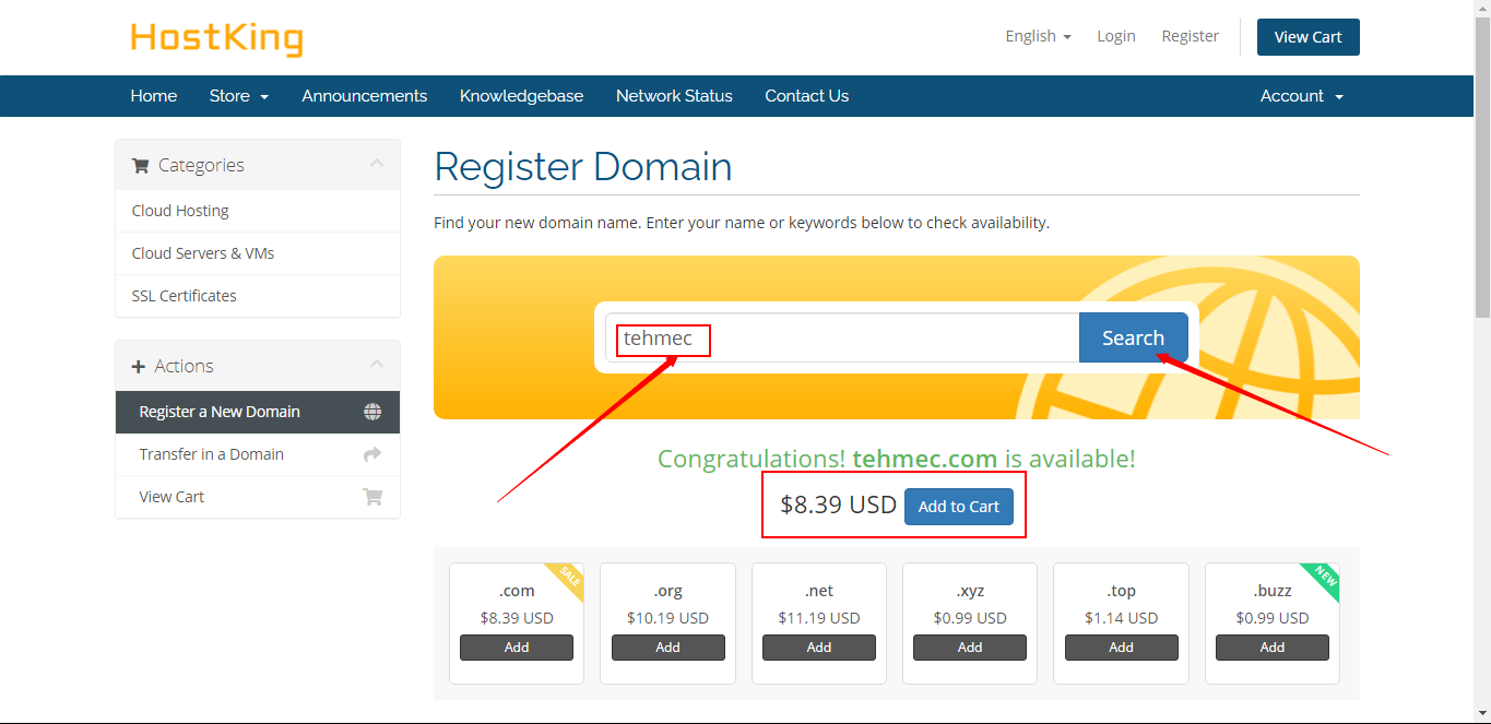 HostKing Top-level domains search box