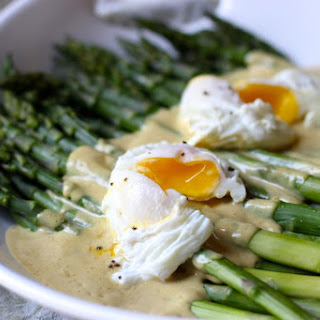 Asparagus with Mustard Anchovy Vinaigrette + Poached Eggs - gluten free, dairy free, soy free, nut free, and sugar free.