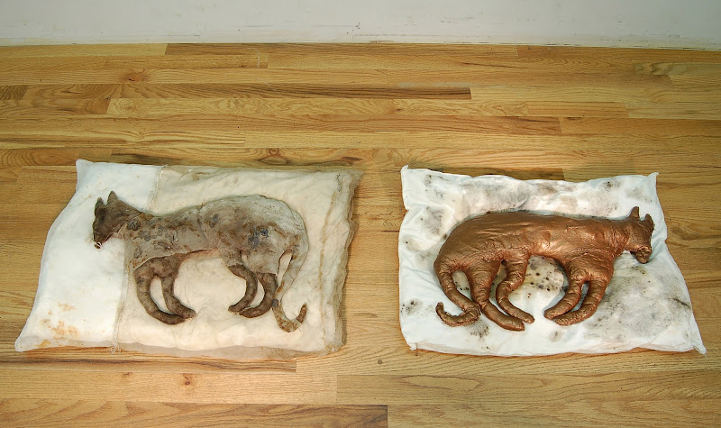 Photo: A Measure: Pillow 1 and 2 Rust and tea stained silk organza, silk chiffon, encaustic, human hair, and old pillow. Plaster, silk organza, old pillow and bronze Paverpol