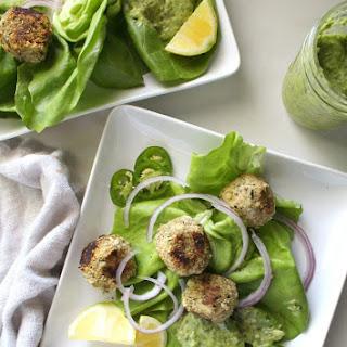 Vegan Meatball Salad with Creamy Dreamy Green Sauce.