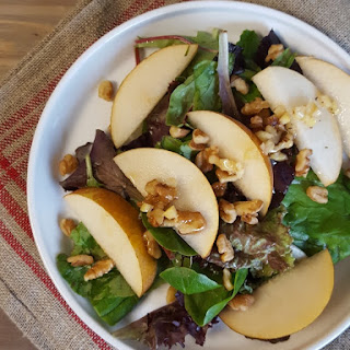 Green Salad with Asian Pears and Preserved Lemon Vinaigerette.