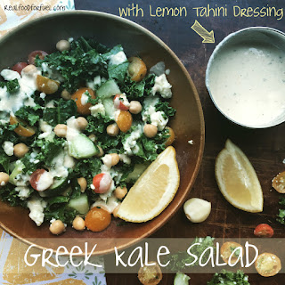Greek Kale Salad with Lemon-Tahini Dressing
