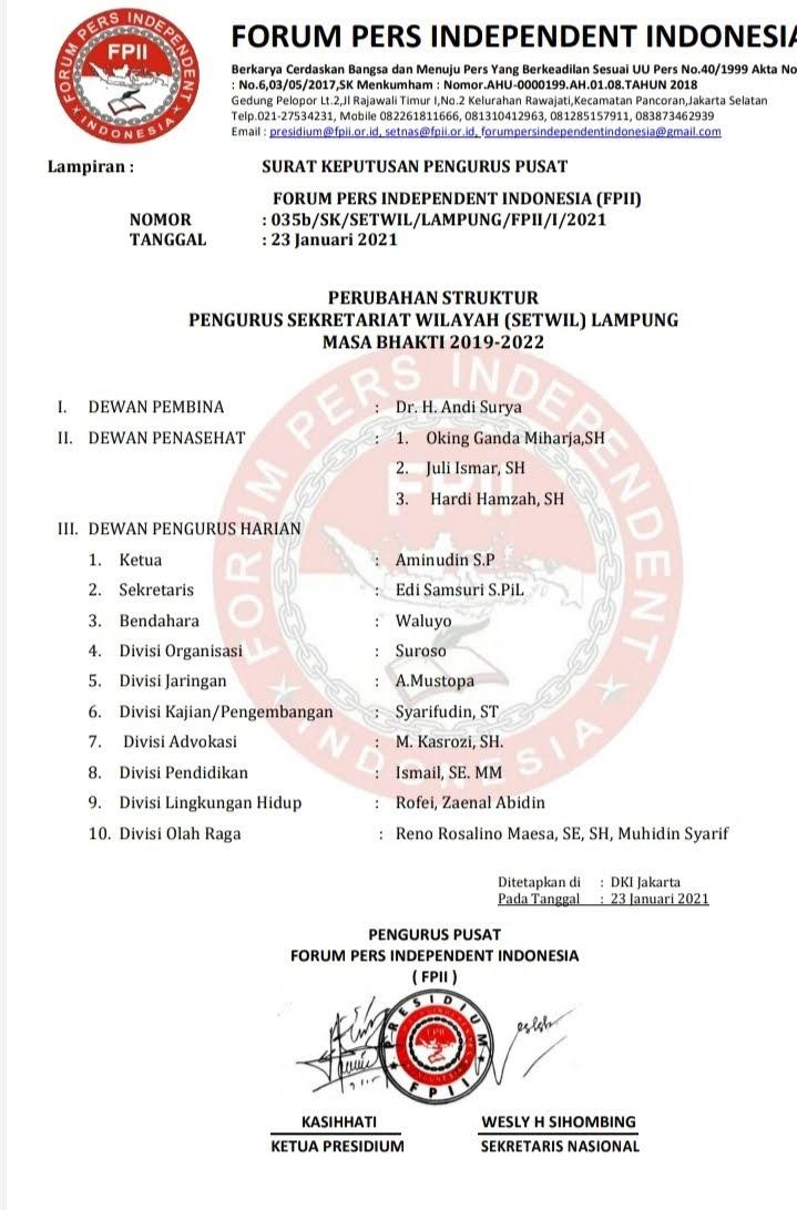 Awas Ada Oknum Yang Mengaku Pengurus FPII Lampung