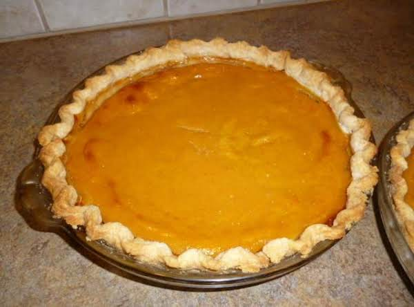 Both Of These Recipes Of Pumpkin Pie Are The Same Except Mothers Was Made With Canned Pumpkin And Dude's (my Holloween Pumpkin) Was Made From A Fresh Pumpkin.