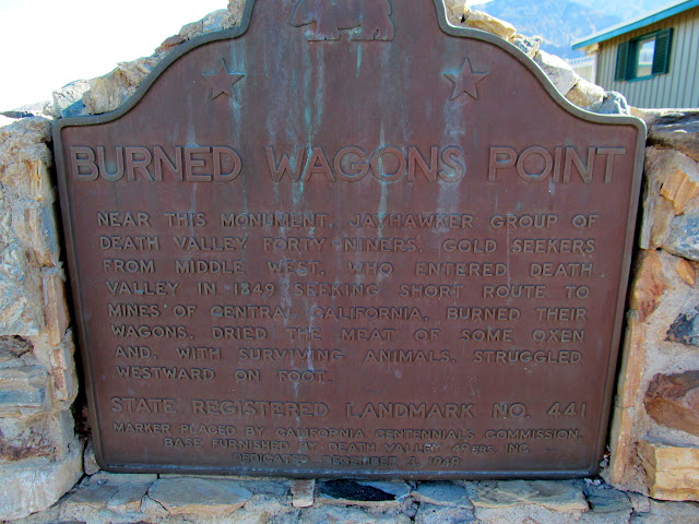 Burned Wagons Point plaque at Stovepipe Wells