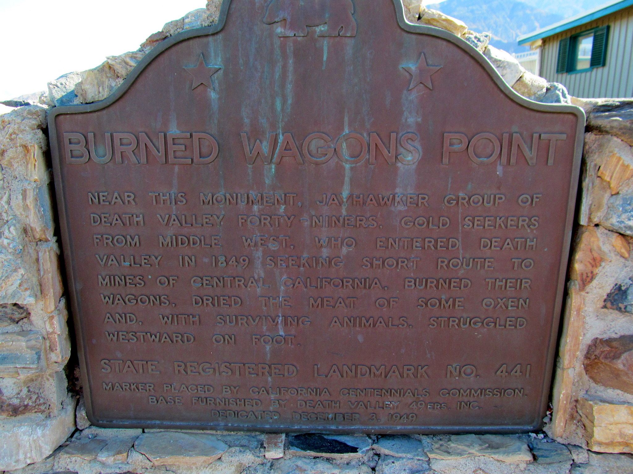 Photo: Burned Wagons Point plaque at Stovepipe Wells
