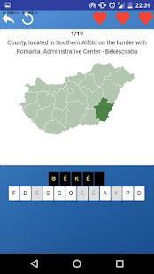 Counties of Hungary - maps, tests, quiz screenshot 1