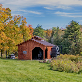 Mill in Ironville by Debbie Quick - Buildings & Architecture Other Exteriors ( sky, debbie quick, adirondacks, exterior, debs creative images, new york, building, mill, foliage, fall, car, ironville, autumn, architecture,  )