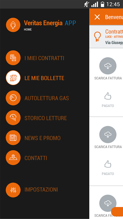 Veritas Energia App gas e luce- screenshot