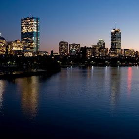 Boston Skyline by Dan Allard - City,  Street & Park  Skylines ( skyline, reflection, coastal city, boston, sunset, pwcskylines, city )