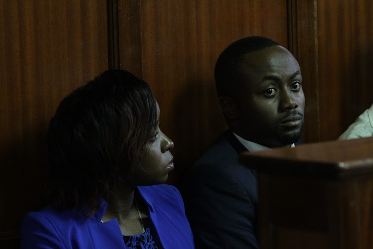 Jacque Maribe and Joseph Irungu aka Jowie at a Milimani court on on May 07 during the mention of a matter where they are charged with the murder of Monica Kimani.