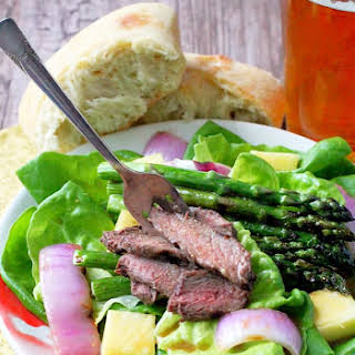Grilled Steak and Asparagus Salad with Pineapple Vinaigrette.