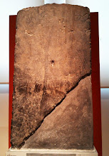 Photo: Grave stele of a warrior. The dead Nikios is depicted with a spear, shield and sword, wearing a helmet. Originally the stele was painted. Late 5th/early 4th century BC