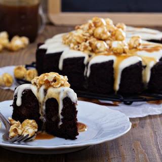 Chocolate Caramel Glaze Poke Cake